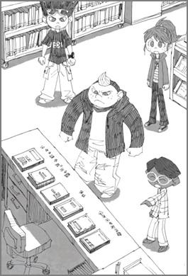 図書館に残されたヒントを見つける場面