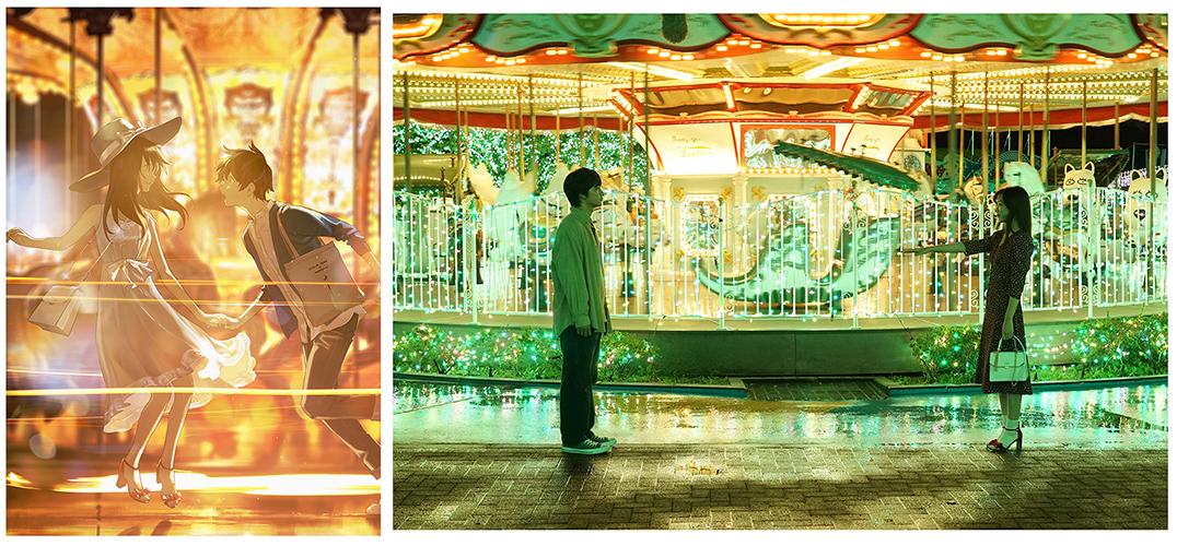 映画『君は月夜に光り輝く』オリジナルイラスト(左)と、イラストに喚起されて撮影された映画シーン(右) <br>  Ⓒ2019「君は月夜に光り輝く」製作委員会