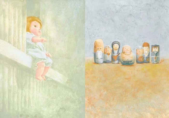 連載時扉絵 左:「ルルちゃん」右:「ひょうたんの精」 イラスト:川嶋恵津子